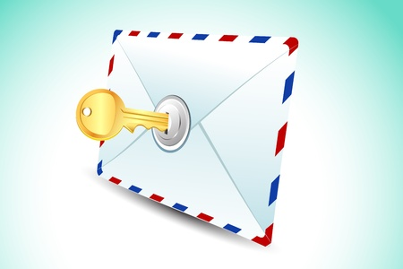 passwords: illustration of locked envelope with key on abstract background