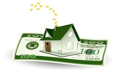 Ilustracja z domu na notatki dolara na abstrakcyjnym tle Ilustracje wektorowe