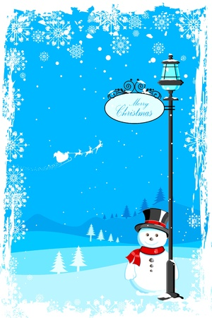 illustration of snowman under lamp post in christmas night with santa flying in sledge Vector