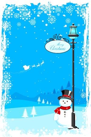 lamp post: illustrazione del pupazzo di neve sotto lampione a notte con Babbo Natale in slitta volante Vettoriali