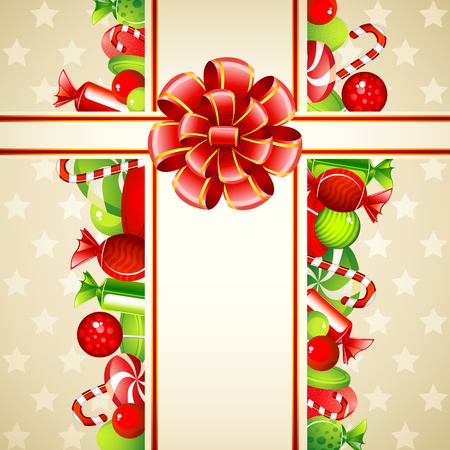 sweet treats: illustration of colorful candies with bow ribbon in card Illustration