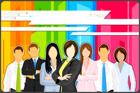 teamleider: illustratie van de mensen uit het bedrijfsleven op kleurrijke abstracte achtergrond