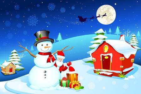 frosty the snowman: illustration of snowman with santa claus and gift box in christmas night
