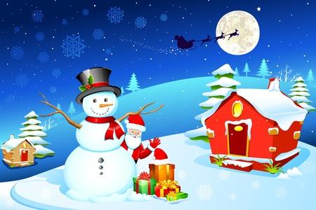 trineo: Ilustración de muñeco de nieve con Santa Claus y caja de regalo en la noche de Navidad Vectores