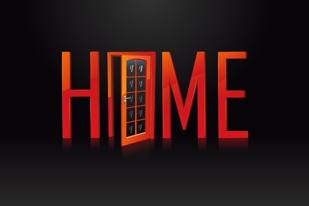 illustration of home text with door on black background Vector