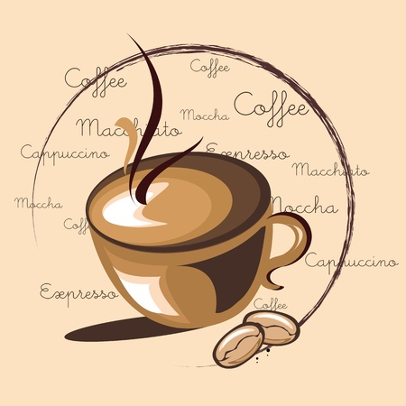 illustration of hot coffee on word cloud background with related words