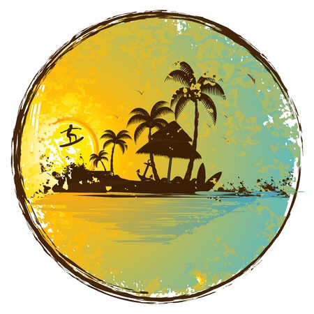 illustration of hut and palm tree with surfer in island at sunset view Vector