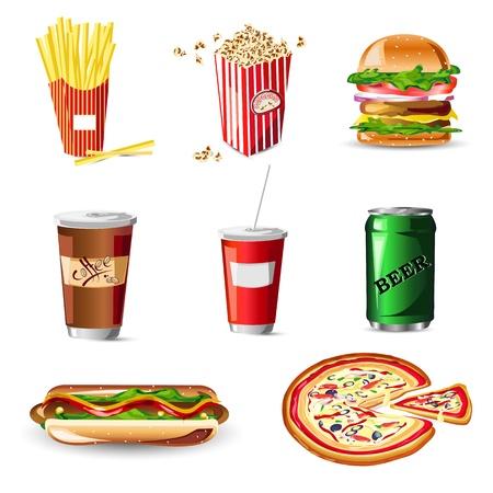 illustratie van fast food op een witte achtergrond Vector Illustratie