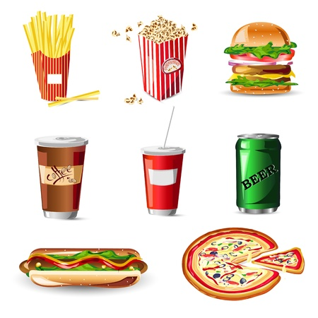 ilustraci�n de la comida r�pida en el fondo blanco