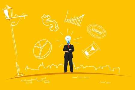 illustration of businessman with bulb head standing in abstract business background Vector