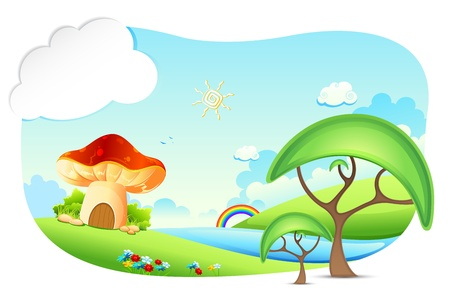 tales: illustration of fantasy landscape with mushroon home Illustration