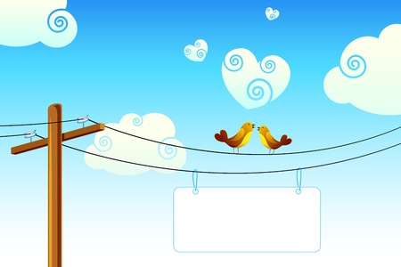 display board: illustration of love birds sitting on wire with display board