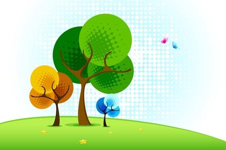 hoog gras: illustratie van de boom in landschap in halftoon stijl Stock Illustratie