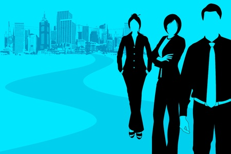 road to success: illustration of business people standing with grungy city backdrop