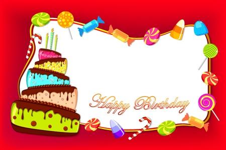 marco cumplea�os: ilustraci�n de la tarjeta de feliz cumplea�os con pastel de colores y caramelos dulces Vectores