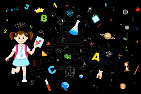 illustration of girl with grade sheet on education background Vector