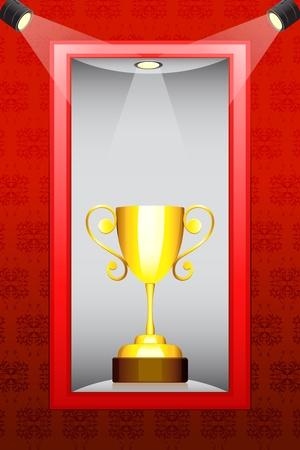 illustration of gold trophy kept in display in shelf Vector