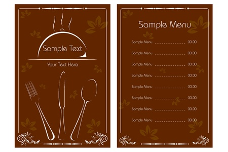 dinner party table: illustration of template for menu card with cutlery on floral background