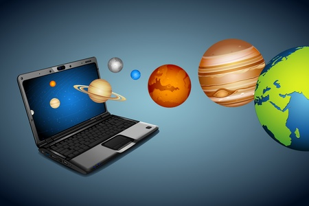 illustration of planets coming out of notebook Stock Illustration - 11135312