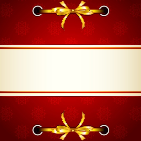 illustration of ribbon tied in christmas background with snowflakes pattern Vector
