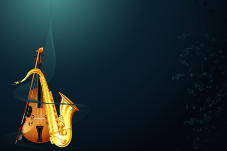 illustration of saxophone with violin in abstract musical background Vector