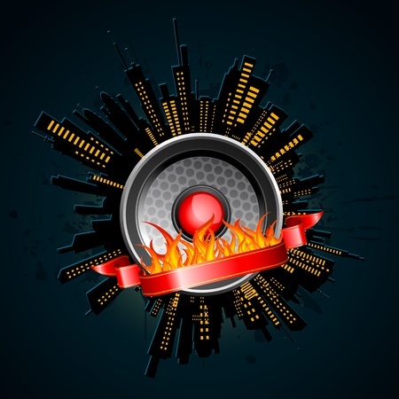 loud speaker: illustration of night view of city with loud speaker on fire Illustration