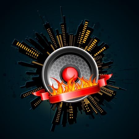 loud speaker: illustration of night view of city with loud speaker on fire Illustration