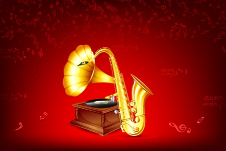 illustration of gramophone and saxophone on musical background Vector