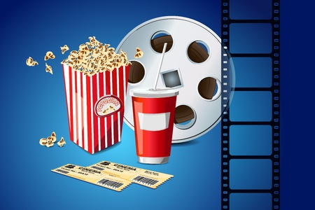 movie clapper: illustration of pop corn with movie film reel