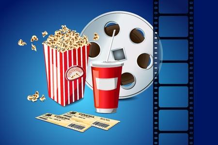 movie film reel: ilustraci�n de palomitas de ma�z con el rollo de pel�cula de cine