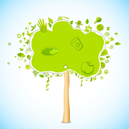 illustration of paper tree with eco friendly icon Illustration