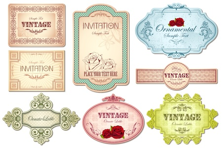 illustration of retro style sticker in different shape on white background illustration