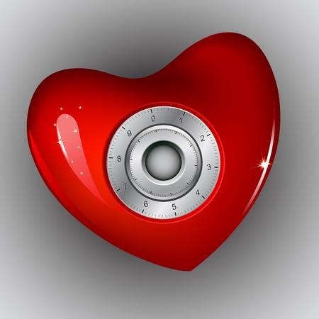 ilustraci�n de la cerradura de combinaci�n en el coraz�n en fondo abstracto