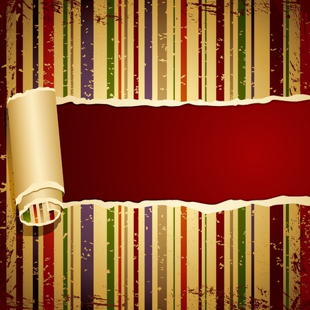 illustration of retro style striped wallpaper torn from middle Stock Illustration - 11275711