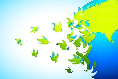 bondad: ilustración de la paloma volando de la tierra difundiendo el mensaje de la paz