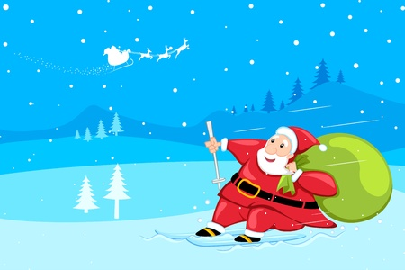 illustration of santa claus sking in snow with his bag Stock Vector - 11275702