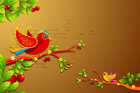 illustration of twitting colorful birds sitting on tree Vector