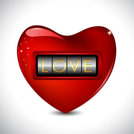 secret love: ilustraci�n de la cerradura de combinaci�n en coraz�n en el fondo abstracto Vectores