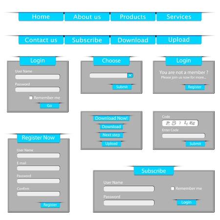 set form: illustration of set of web template form made of paper