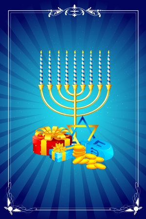 dreidel: illustration of menorah candle with gift box for shabbat Illustration