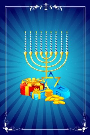 shabat: ilustración de las velas menorah con caja de regalo para el Shabat