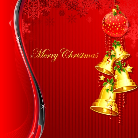 illustration hanging christmas bell on abstract background Stock Vector - 11275727
