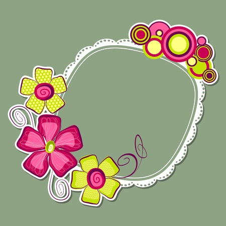 stitched: illustration of colorful flower with lace frame in retro style Illustration