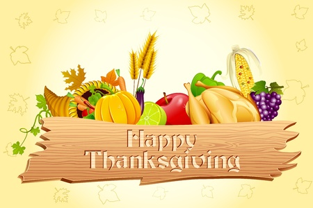 thanksgiving dinner: illustration of thanksgiving element with wooden board Stock Photo