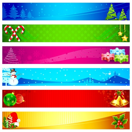 christmas ribbon: illustration of colorful christmas banner with different element
