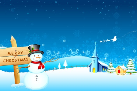 illustration of snowman in front of church in christmas night Vector