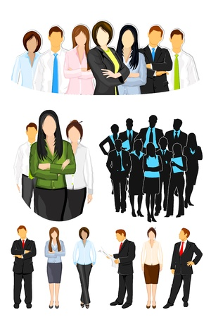 female engineer: illustration of set of business people on isolated background