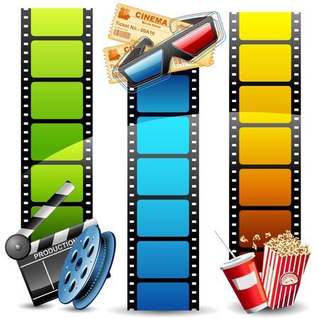 carrete de cine: ilustraci�n de rollo de pel�cula con palomitas de ma�z de colores, tambores y claqueta Vectores