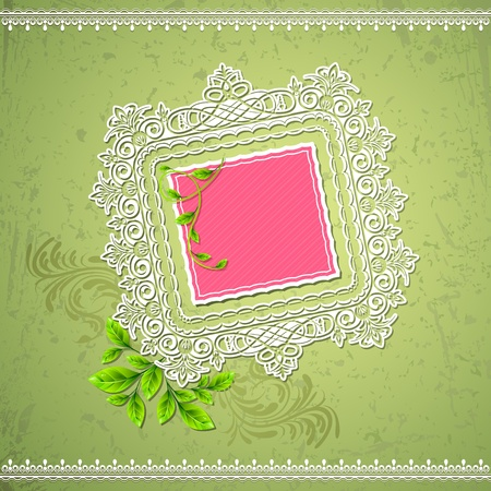 illustration of lace border on abstract grungy background Vector