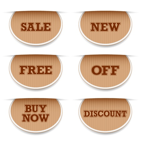 coupon template: illustration of different selling tag with text